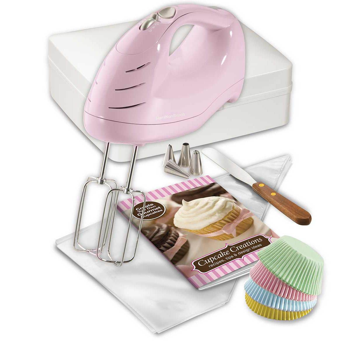 Cupcake Creations Hand Mixer with Decorating Kit Storage Case