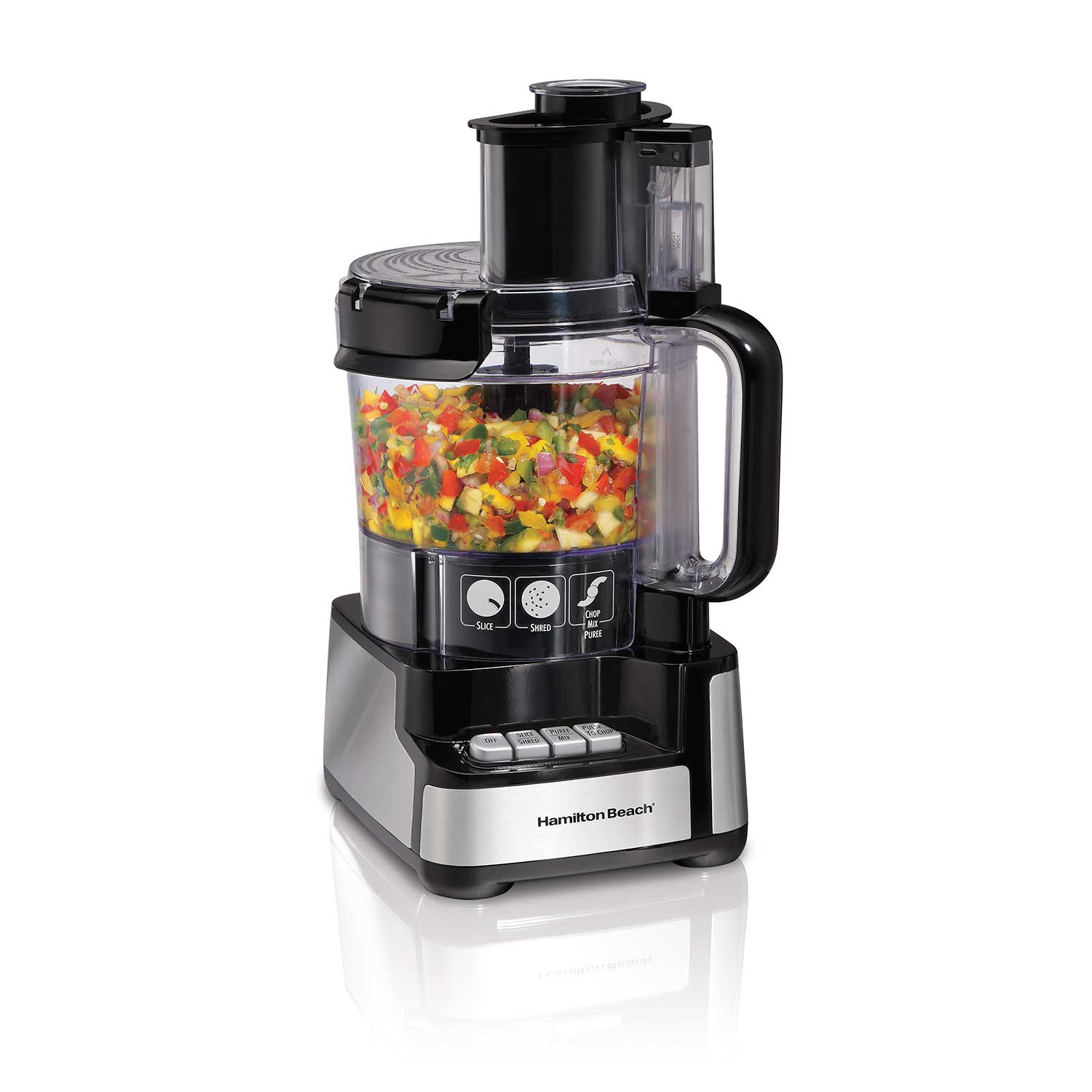 12-Cup Stack & Snap™ Food Processor with Big Mouth, Black & Stainless (70725)