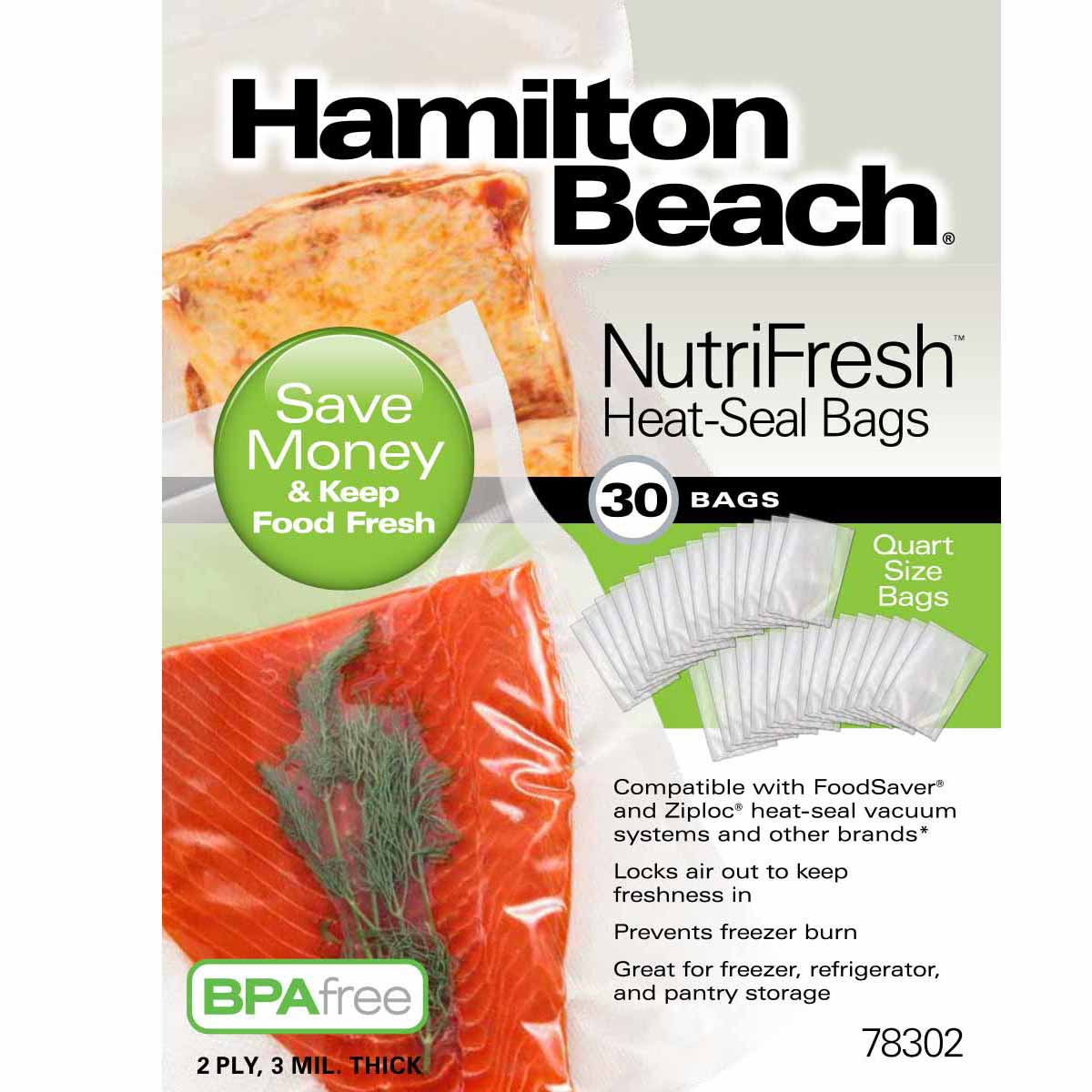 NutriFresh™ Quart Heat Seal Bags, 30 Count (78302)