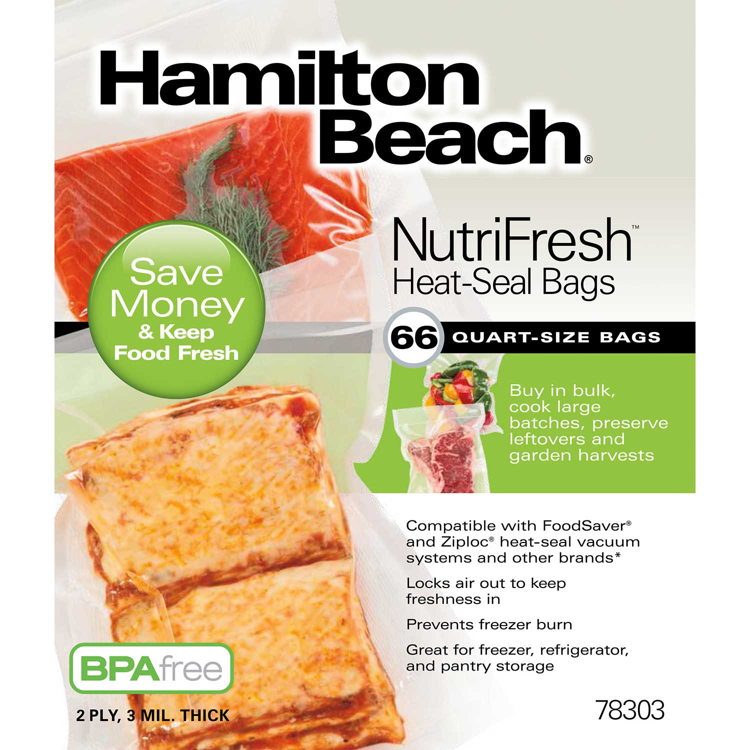 NutriFresh™ Quart Heat Seal Bags, 66 Count (78303)