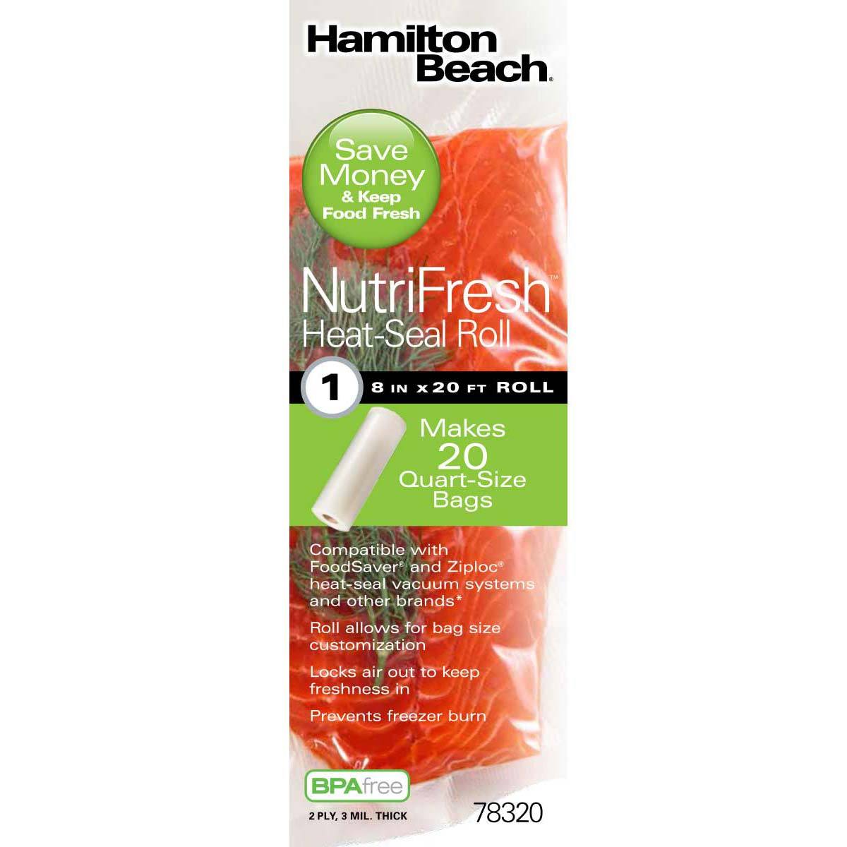 NutriFresh™ 8 in x 20 ft Heat-Seal Rolls, 1 Pack (78320)