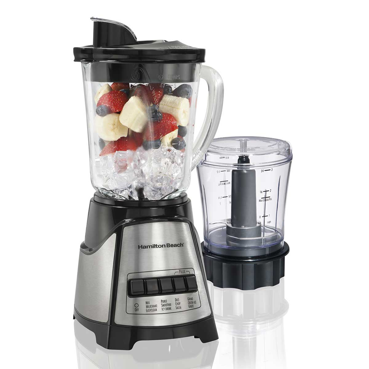 12 Function Blender & Chopper with Mess-free 40oz Glass Jar, 700W Black & Stainless (58149)