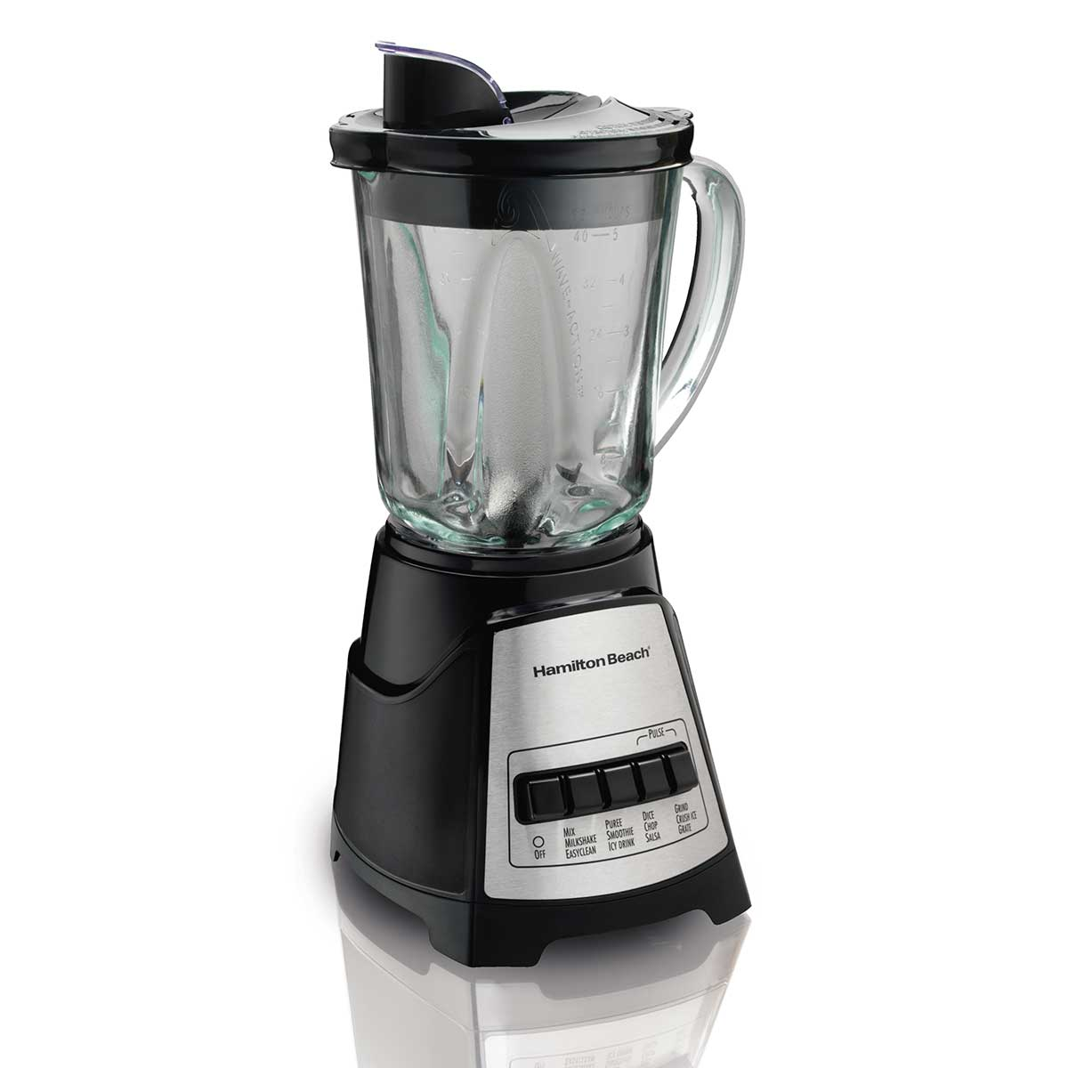 Power Elite® Multi-Function Blender with Mess-free 40oz Glass Jar, 700W Black & Stainless (58148)