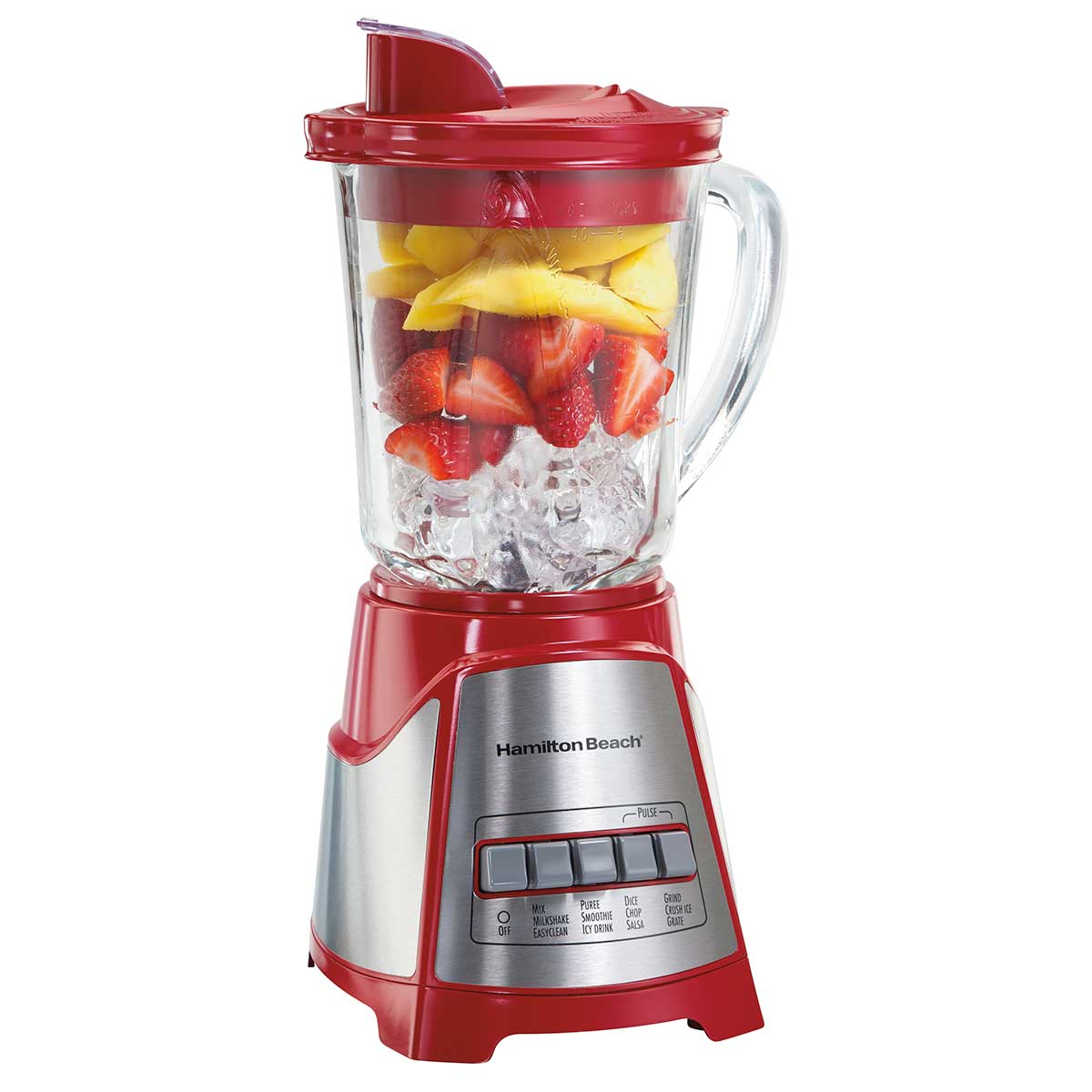 Multi-Function Blender with Mess-free 40oz Glass Jar, 700W Red (58147)