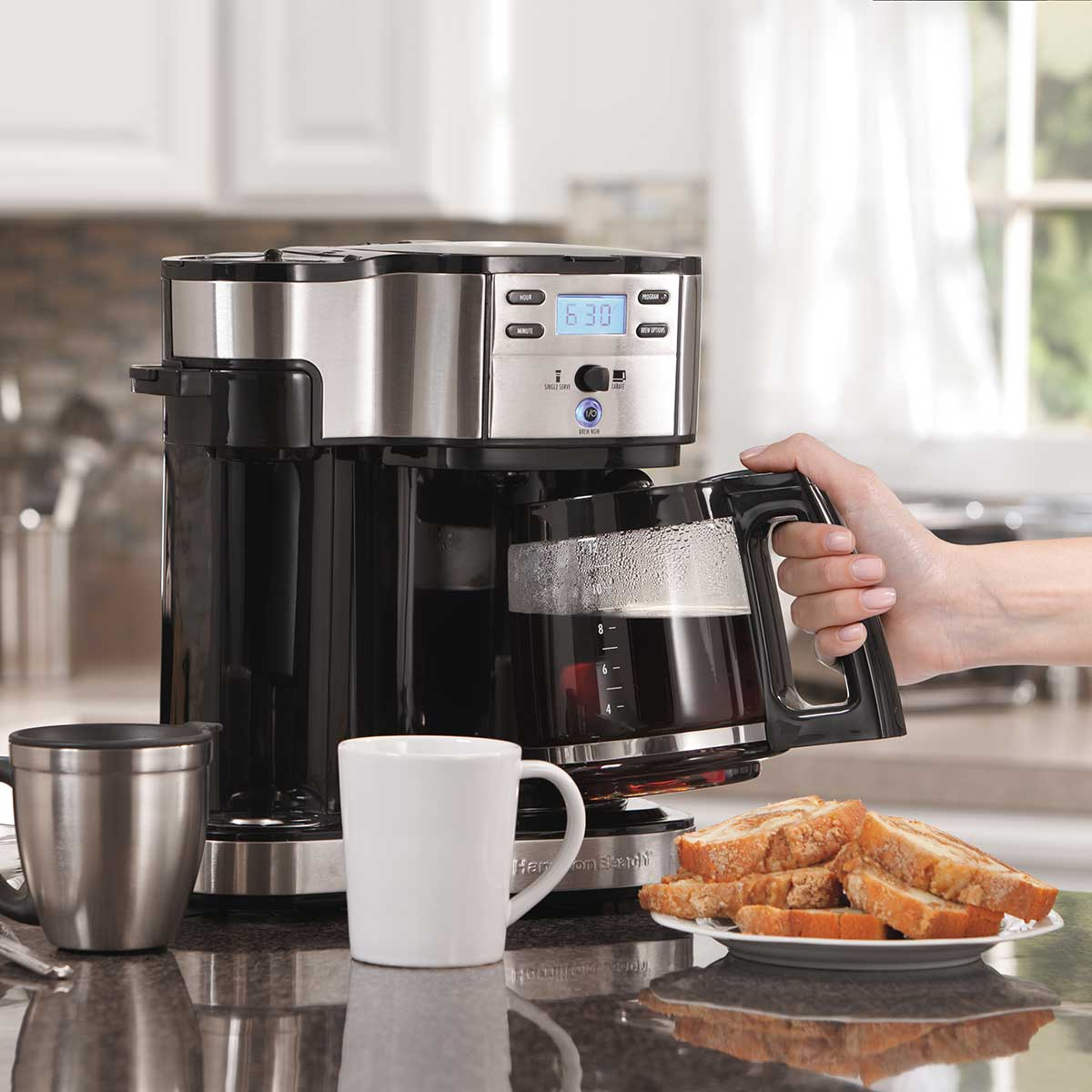 2-Way Coffee Maker with 12-Cup Carafe & Pod Brewing, Black & Stainless (49980Z)