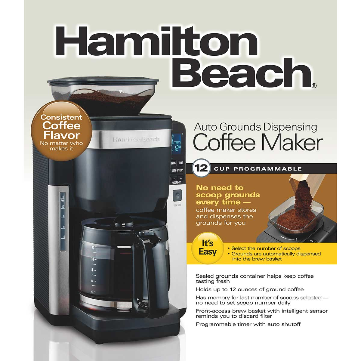 12-Cup Coffee Maker with Automatic Grounds Dispenser, Black & Stainless (45400)
