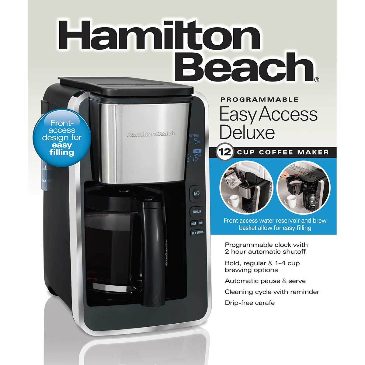 12-Cup Programmable Coffee Maker Easy Access Deluxe, Black & Stainless (46320)
