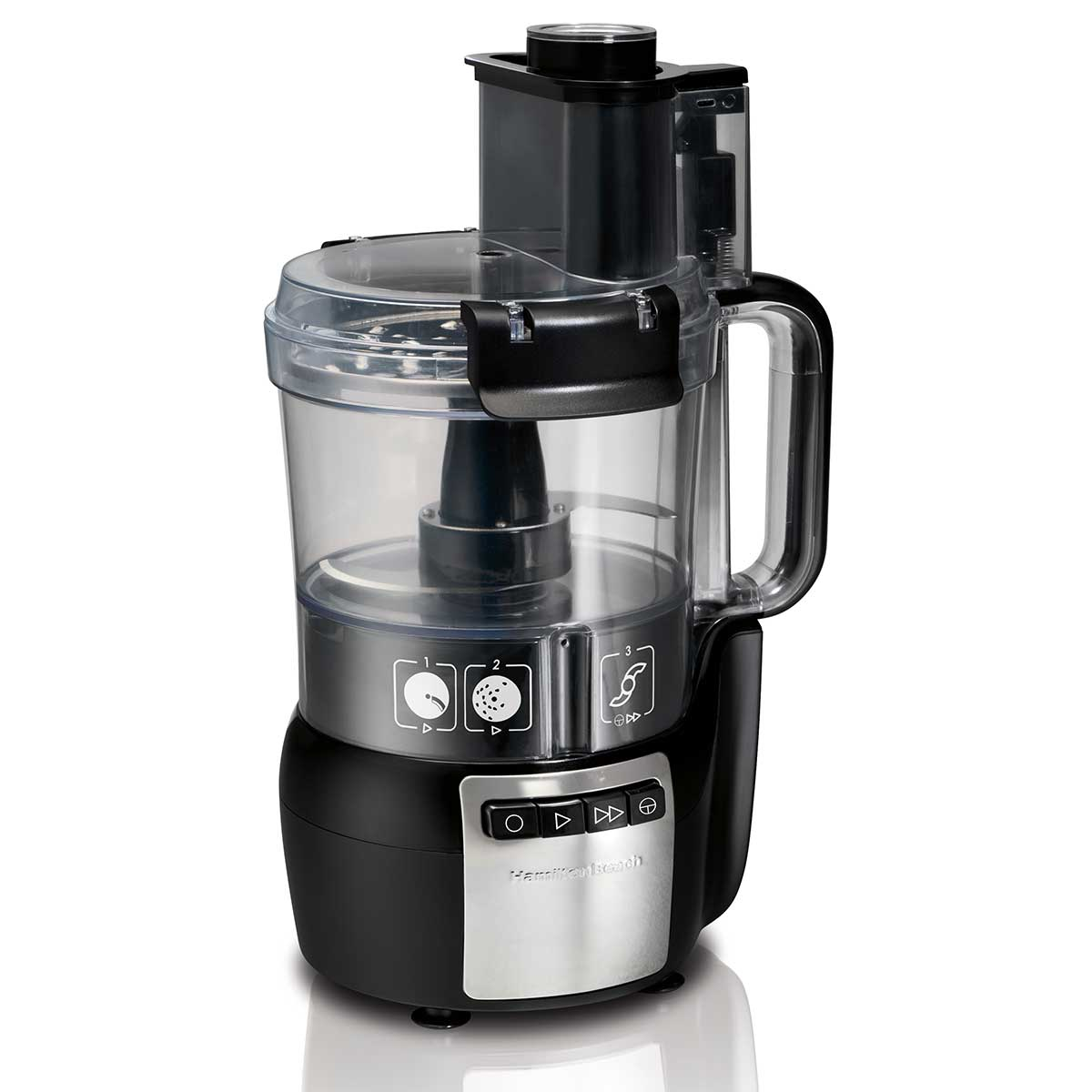 10-Cup Stack & Snap™ Food Processor with Big Mouth®, Black & Stainless (70720)