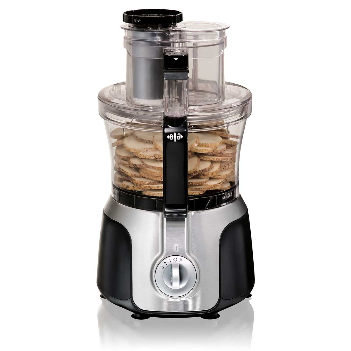 14-Cup Big Mouth® Duo Food Processor with 2 Bowls and 3 Speeds, Black & Silver (70579)