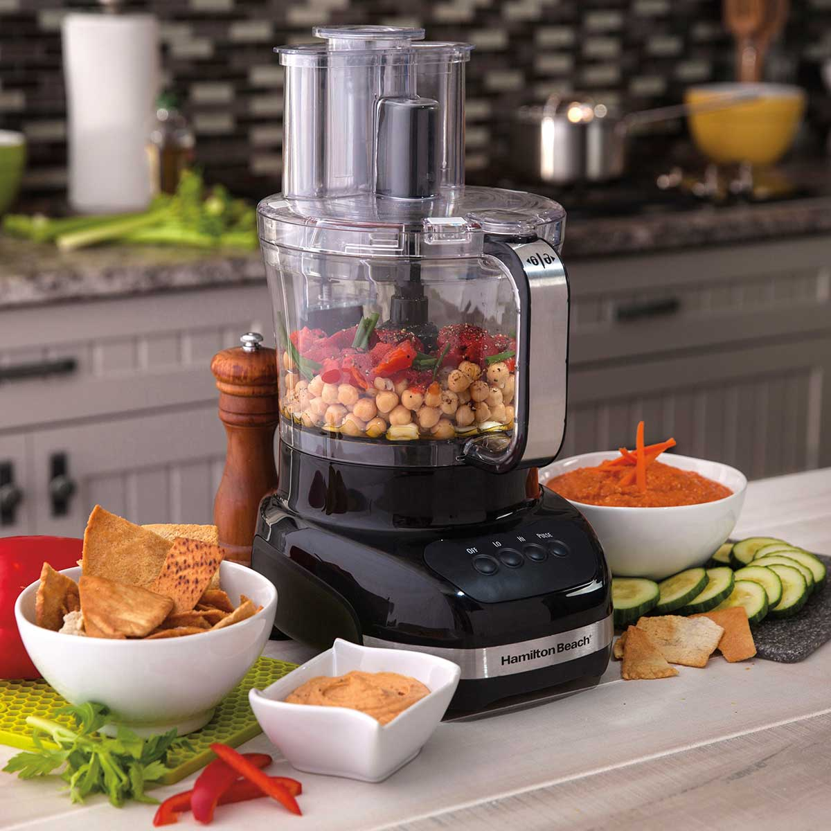 12-Cup Big Mouth® Duo Plus Food Processor with 2 Bowls, Touch Pad Controls, Black (70580)