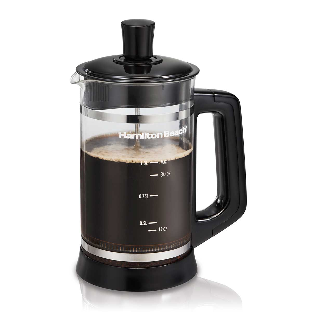 French Press Coffee Maker with Cocoa Attachment, Black (40400)