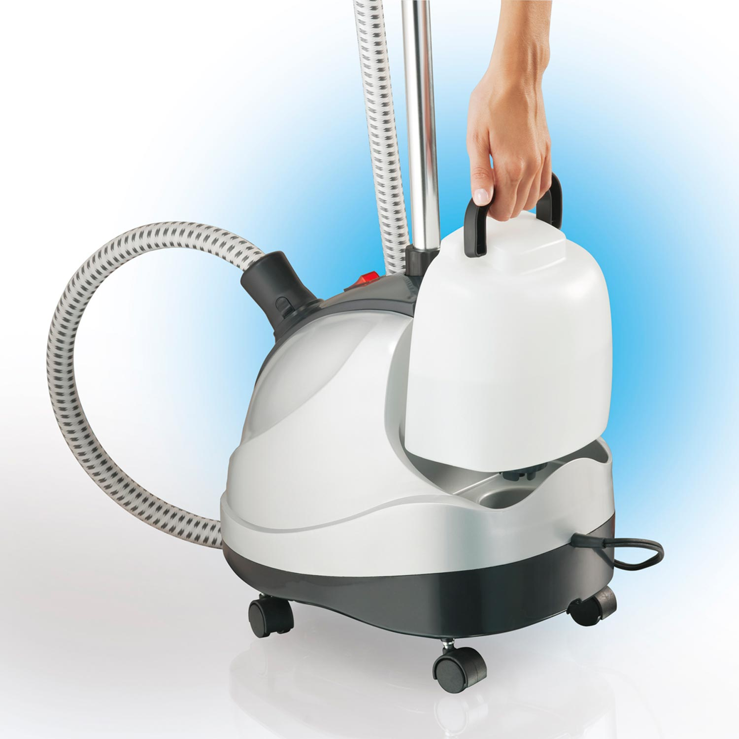 Removable water tank fills up at the sink for 90 minutes of steaming power with the Full-size Garment Steamer.