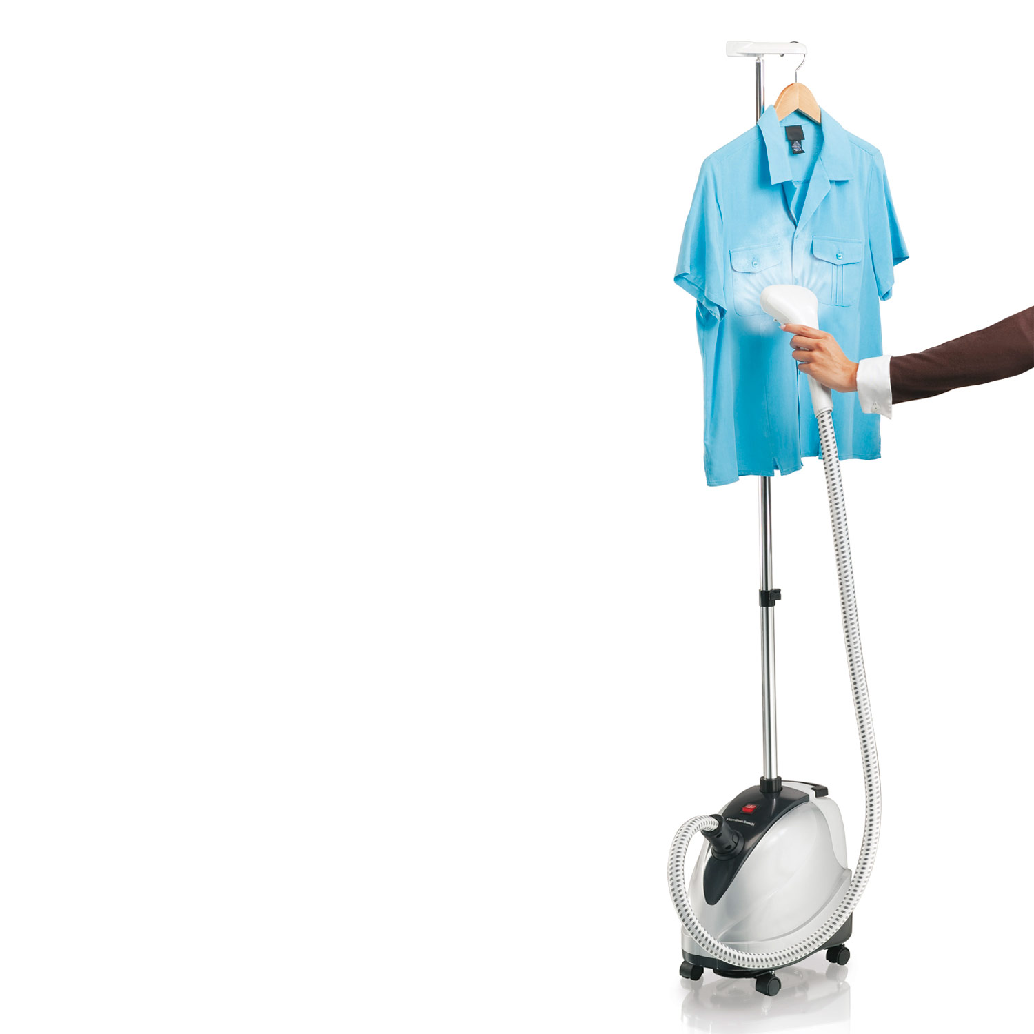 Full-size Garment Steamer with telescoping pole that retracts for easy storage.