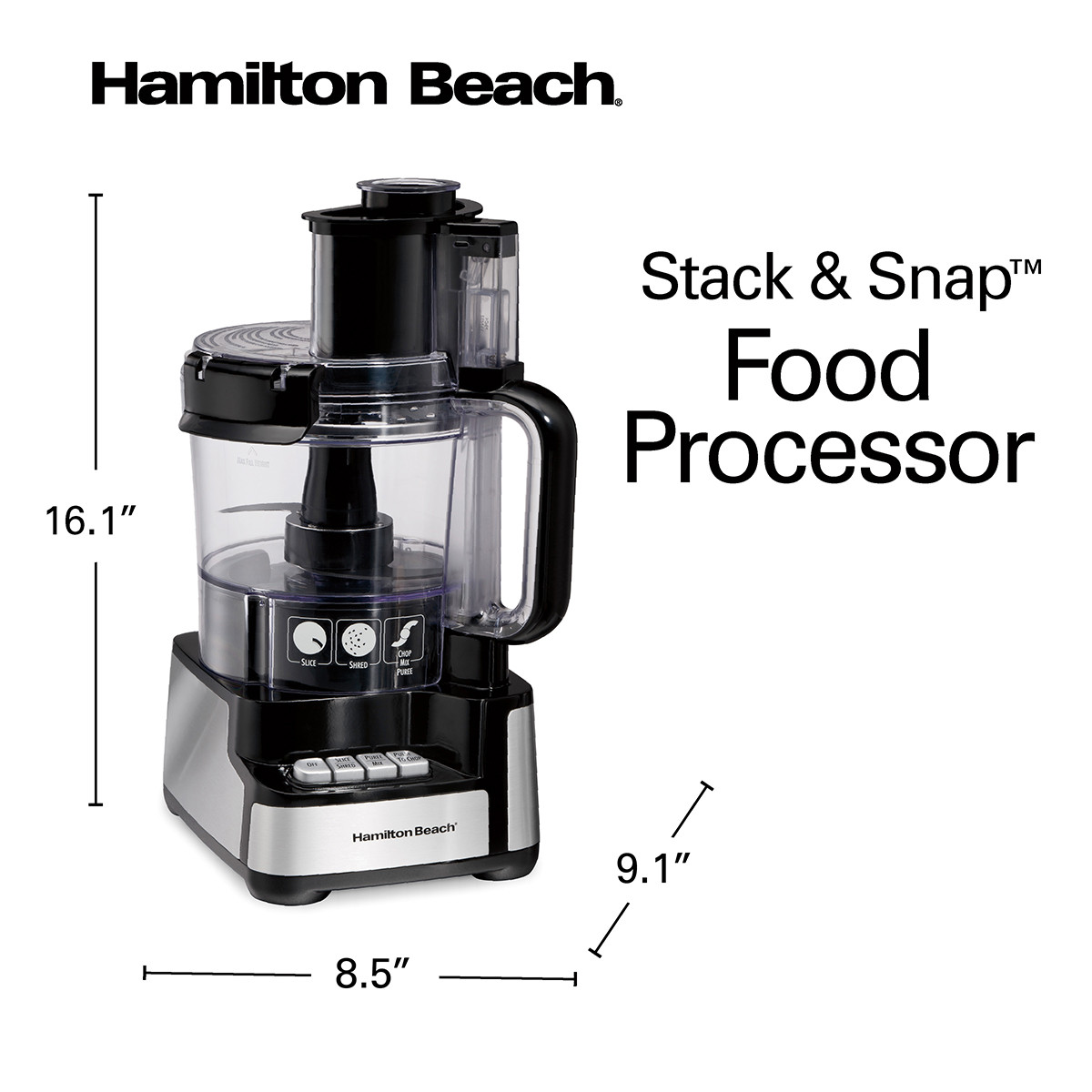 Hamilton Beach 12 Cup Stack & Snap™ Food Processor, Black and Stainless - 70728