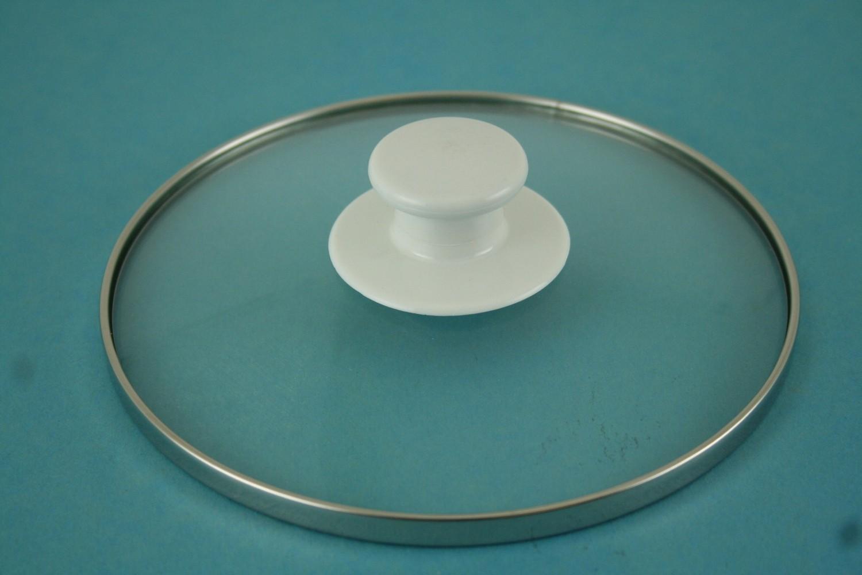 Lid-Round, w/White handle, Gls