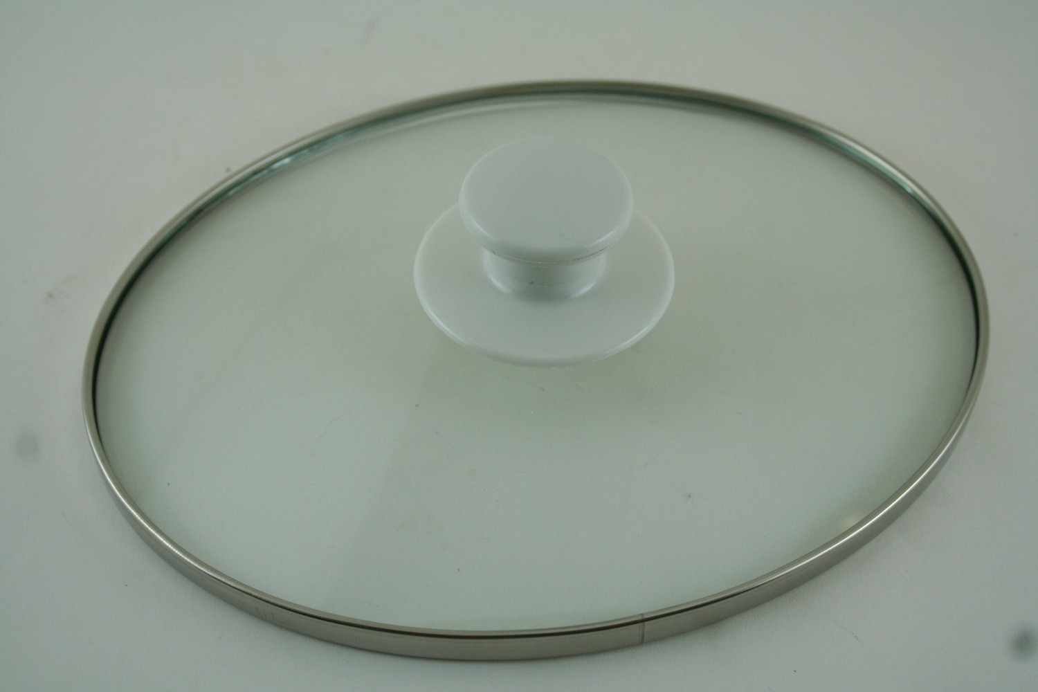 Lid-Oval, Glass w/white handle