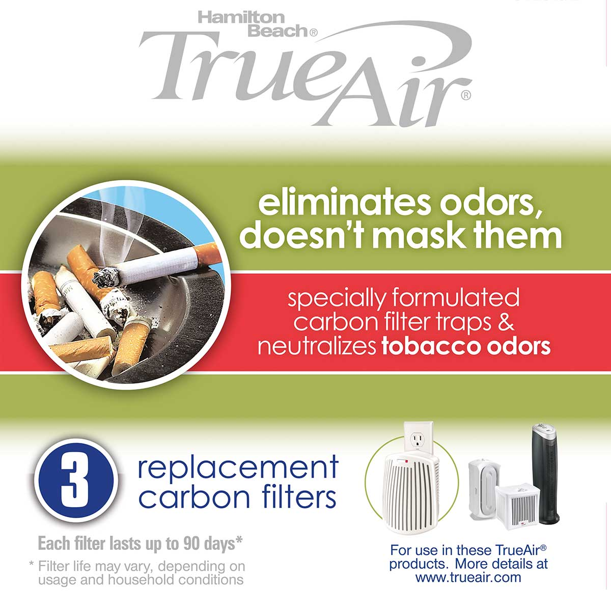 TrueAir® Replacement Air Filters 3-Pack for Smoke Odors