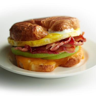 Cheddar, Apple, Bacon and Egg Croissant Sandwich