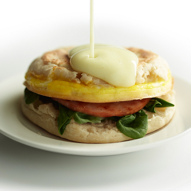 Eggs Benedict Breakfast Sandwich with Hollandaise Sauce