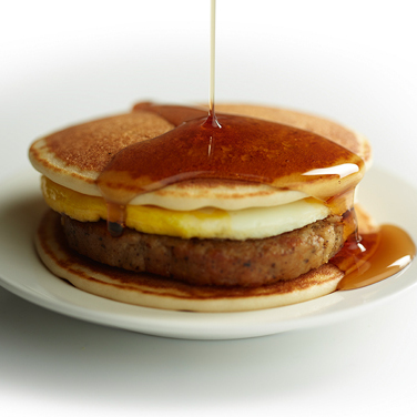 Pancakes and Sausage Breakfast Sandwich