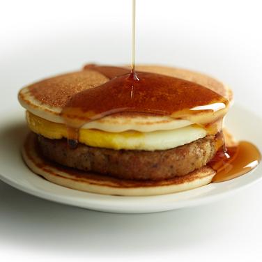 Pancakes and Sausage Breakfast Sandwich HamiltonBeachcom