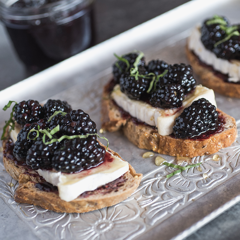 Blackberry Toast with Brie and Basil
