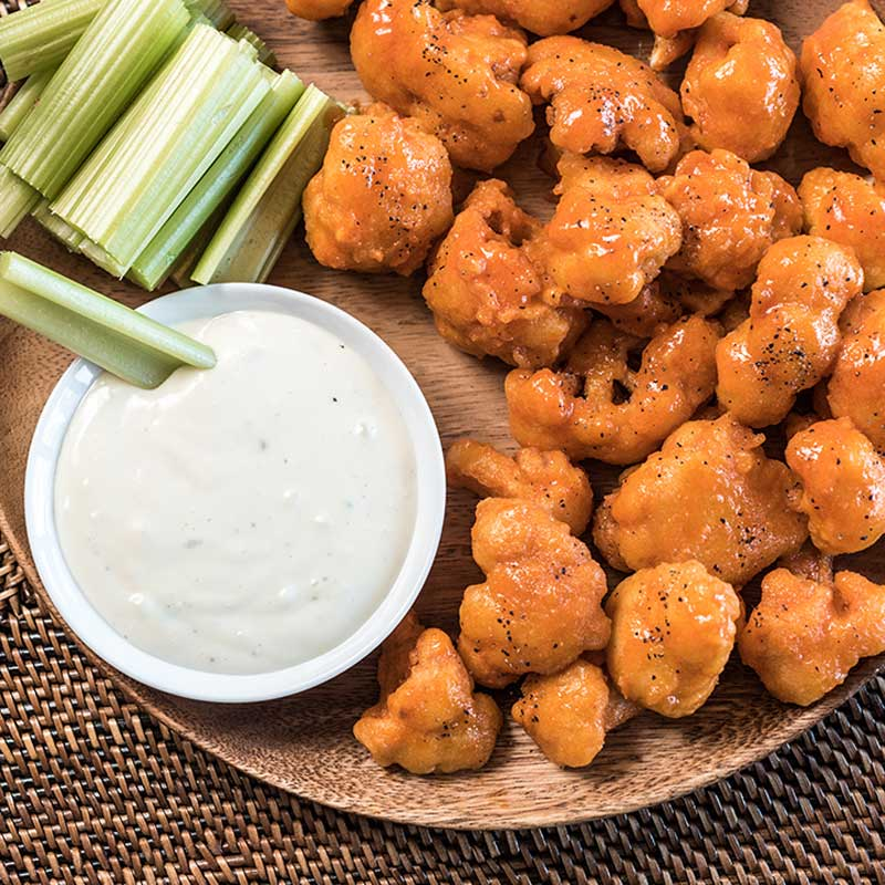 buffalo cauliflower bites on a plate