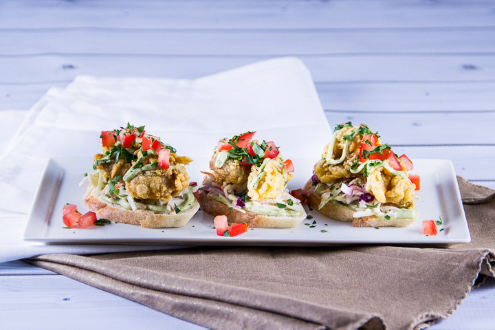 Fried Oysters with Lime and Cilantro Avocado Sauce