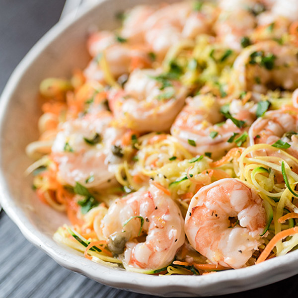 Lemon Garlic Shrimp and Spiralized Veggie Pasta