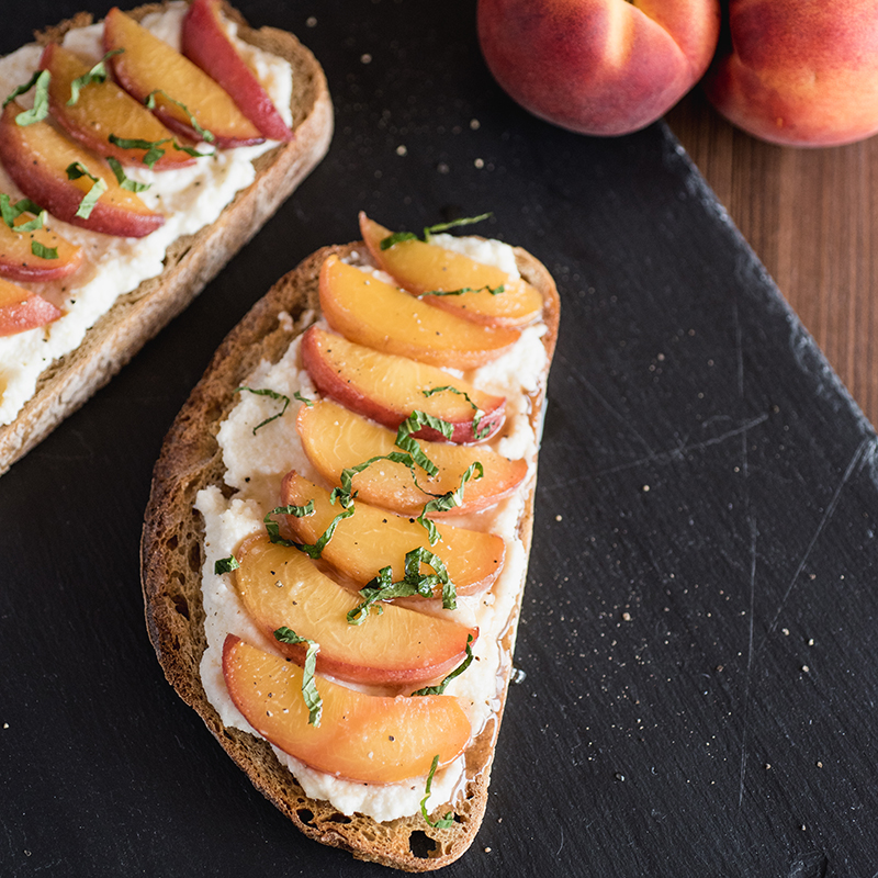 Peach Toast with Ricotta and Mint