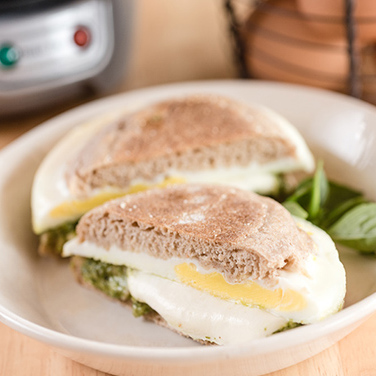 Mozzarella and Pesto Breakfast Sandwich