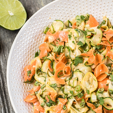 Spiralizer Ribbon Salad with Peanut Sauce