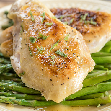 Sous Vide Chicken with Asparagus and Brown Butter