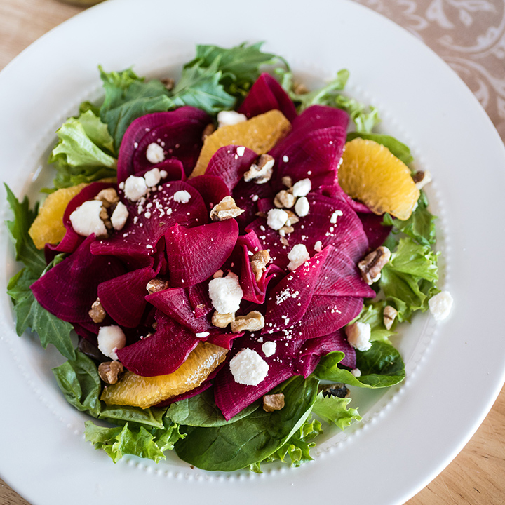 Spiralizer Beets with Orange and Goat Cheese Salad