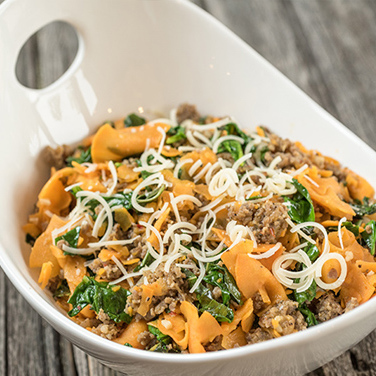 Spiralizer Sweet Potato, Sausage and Spinach Parmesan