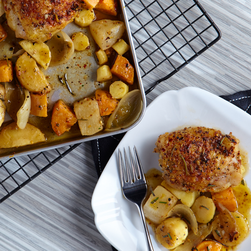 Chicken Thighs with Roasted Rosemary Root Vegetables