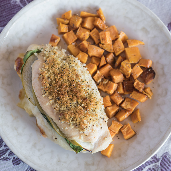 Stuffed Dijon Chicken Sheet Pan Supper