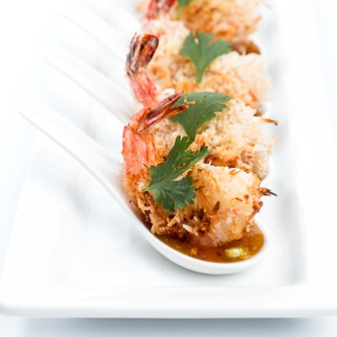 Baked Coconut Shrimp with Curried Chutney