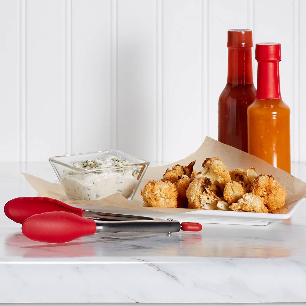 Air Fryer Buffalo Cauliflower Bites with Blue Cheese Dressing