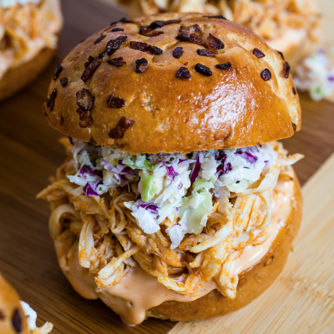 Slow Cooker Buffalo Chicken Sliders with Blue Cheese Slaw