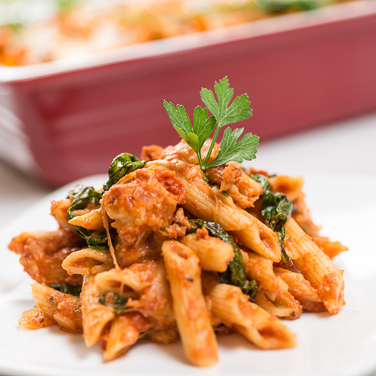 Cheesy Chicken and Pasta Bake with Spinach