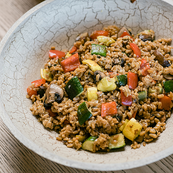 Farro Risotto with Roasted Vegetables