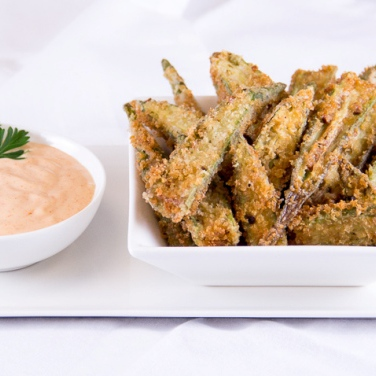 Fried Okra with Smoky Dipping Sauce