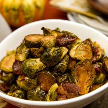 Glazed Brussels Sprouts with Bacon