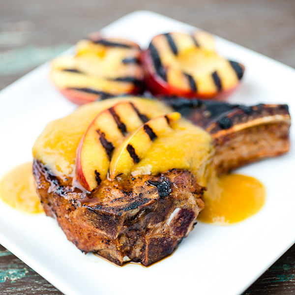 Smoky Grilled Pork Chops with Curried Ginger Nectarine Sauce
