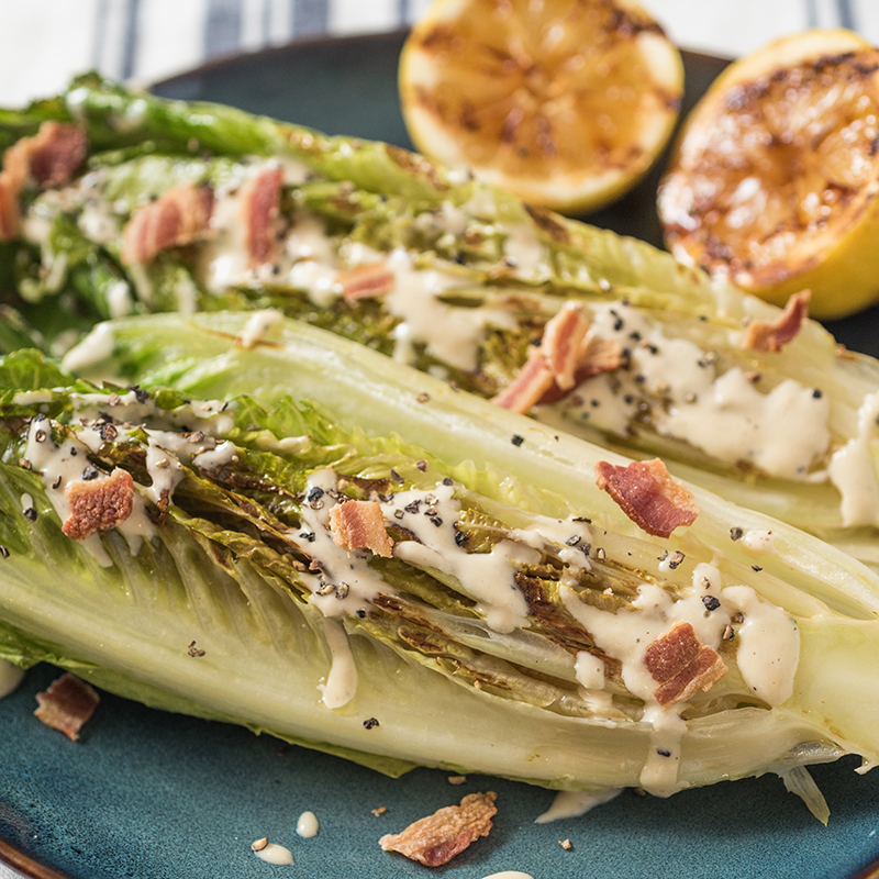 Grilled Romaine Salad with Creamy Caesar Dressing