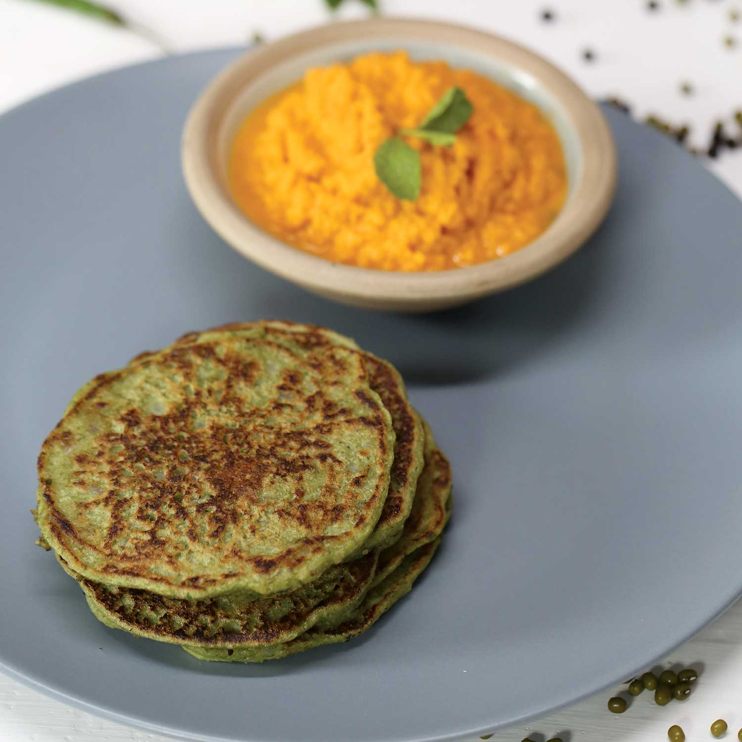 Recipe - Mung Bean Pancakes, Roasted Tomato Coconut Chutney