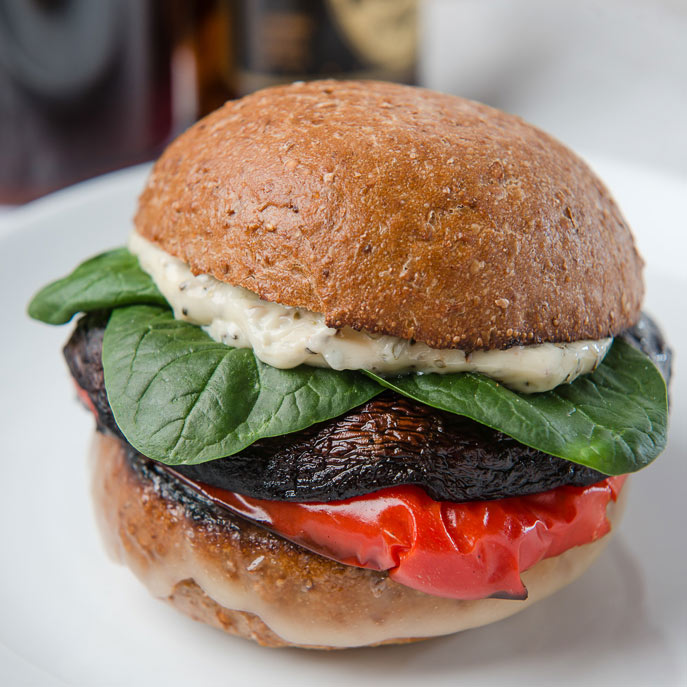 Grilled Portobello and Peppers Sandwich