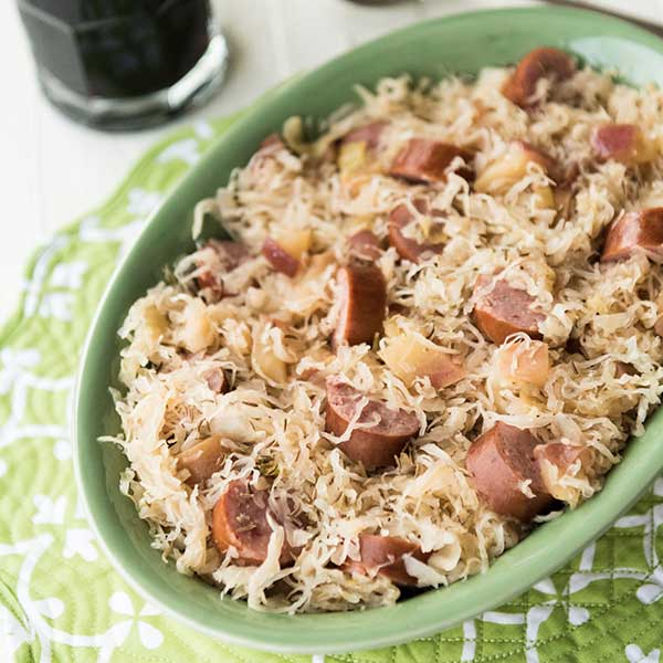 Rice Cooker Kielbasa and Sauerkraut