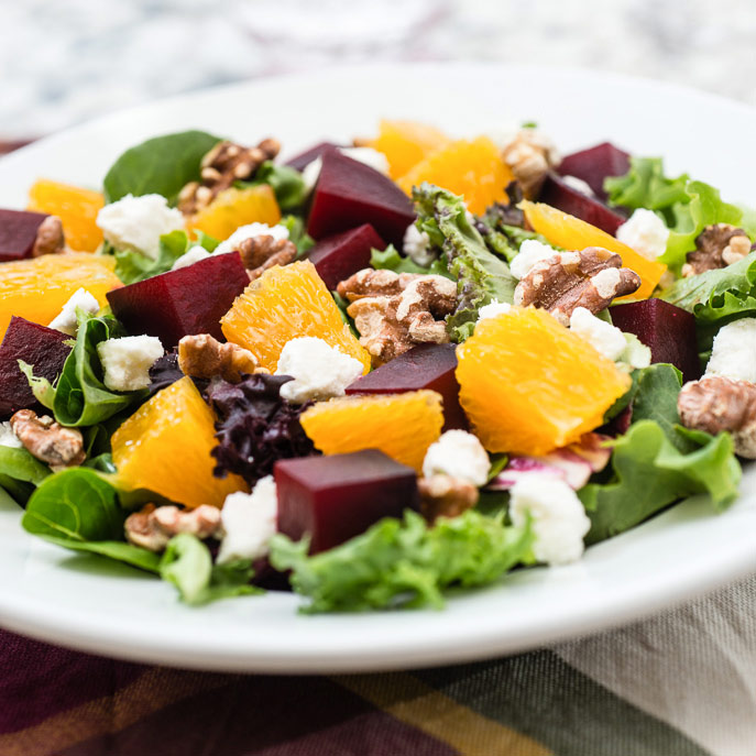 Roasted Beet Salad with Goat Cheese and Balsamic Dressing